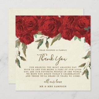 red roses wedding thank you reception card