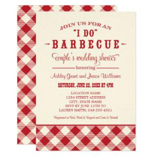Red Rustic I Do BBQ Couple's Wedding Shower Invitation
