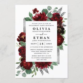 Red Silver Country Burgundy Rose Engagement Party Invitation