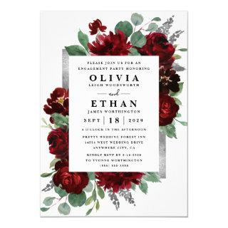 Red Silver Country Burgundy Rose Engagement Party Invitations