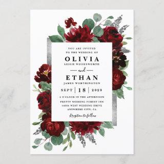 Red & Silver Country Burgundy Rose Winter Wedding Invitations