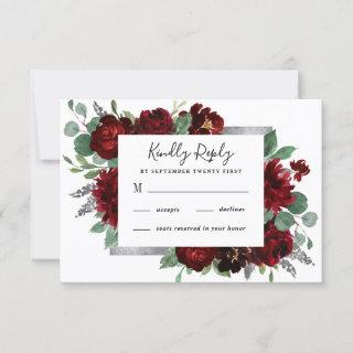 Red & Silver Country Burgundy Rose Winter Wedding RSVP Card