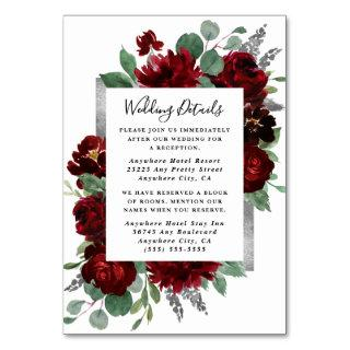 Red Silver Country Winter Wedding Enclosure Cards