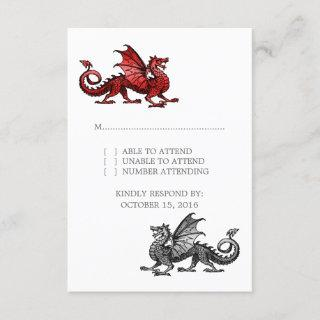 Red Silver Dragon Wedding Response Card