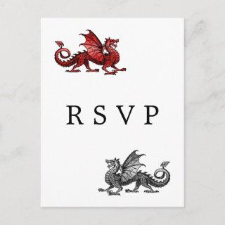 Red Silver Dragon Wedding RSVP Postcard