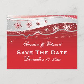 Red, silver grey snowflake wedding Save the Date Announcement Postcard