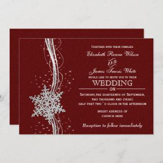red Silver Snowflakes Winter wedding