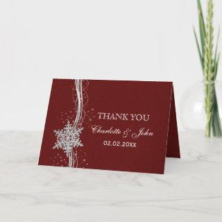 red Silver Snowflakes Winter wedding Thank You