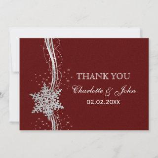 red Silver Snowflakes Winter  wedding Thank You Invitation