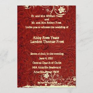 Red Tooled Leather and Lace Wedding