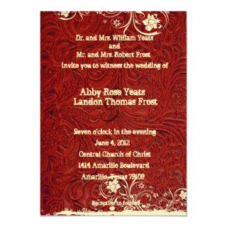 Red Tooled Leather and Lace Wedding Invitations