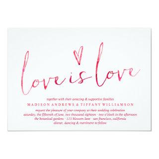 Red Watercolor Love is Love Gay Wedding Invitation