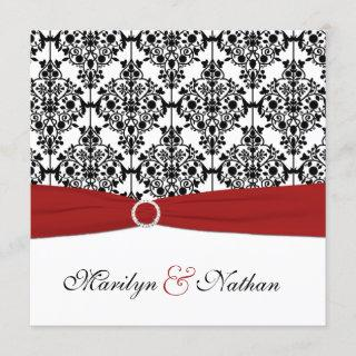 Red, White, and Black Damask Wedding Invitations