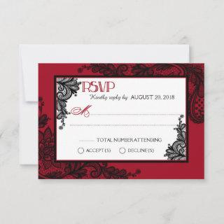 Red White and Black Lace Elegant RSVP Card