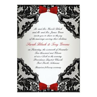 Red, white and Black lace Wedding Invitations