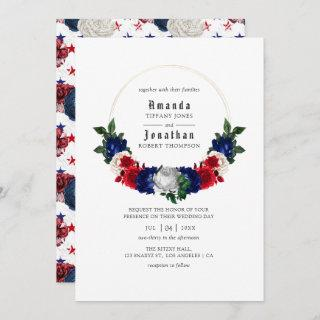 Red White and Blue Fourth of July Wedding Invitations