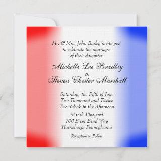Red White and Blue Stripe Wedding Invitations
