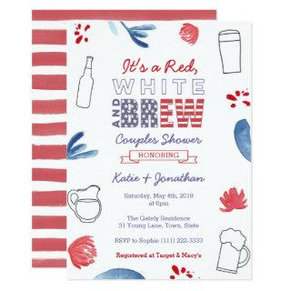 Red White and Brew Couples Shower Engagement Party Invitation