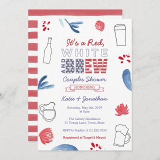 Red White and Brew Couples Shower Engagement Party Invitations
