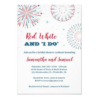 Red, White and I DO Bridal Shower Invitations