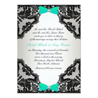 Red, white and Mint Green lace Wedding Invitation