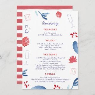 Red White Blue Bachelorette Party Weeknd Itinerary Invitations