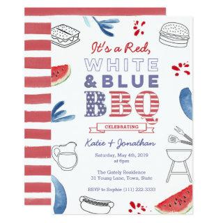 Red White Blue BBQ Couples Shower Rehearsal Dinner Invitation