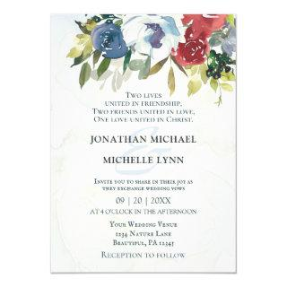 Red White Blue Floral Greenery Christian Wedding Invitation