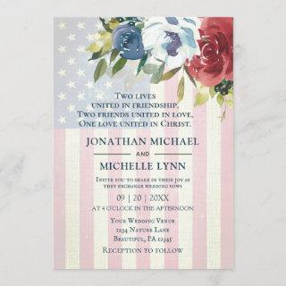 Red White Blue Floral USA Flag Patriotic Wedding Invitation