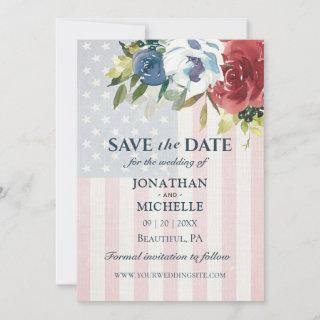 Red White Blue Floral USA Flag Watercolor Wedding Save The Date