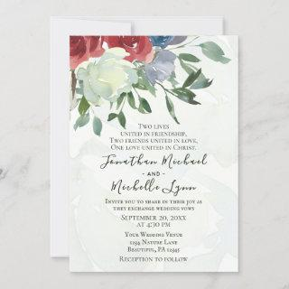 Red White Blue Floral Watercolor Christian Wedding