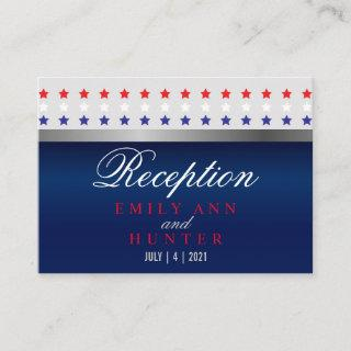Red, White & Blue Patriotic Star Wedding Enclosure Card