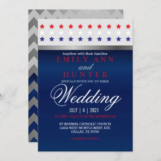 Red, White & Blue Patriotic Star Wedding Invitations