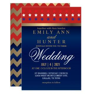 Red, White & Blue Patriotic Wedding Invitation