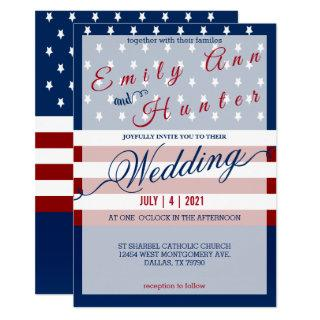 Red, White & Blue Star and Stripe Wedding Invitation