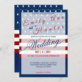 Red, White & Blue Star and Stripe Wedding Invitations