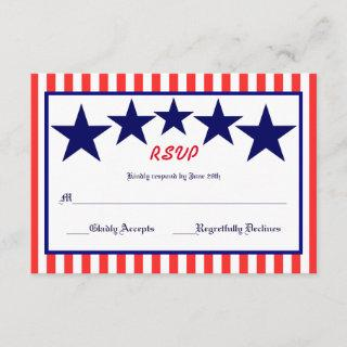 Red White & Blue Star - RSVP Card