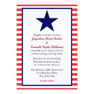 Red White & Blue Star - Wedding Invitations