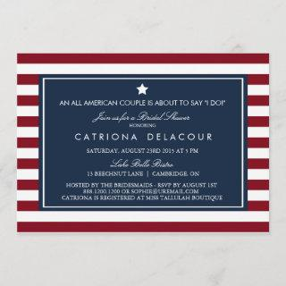 Red White & Blue Stripes Bridal Shower Invitations