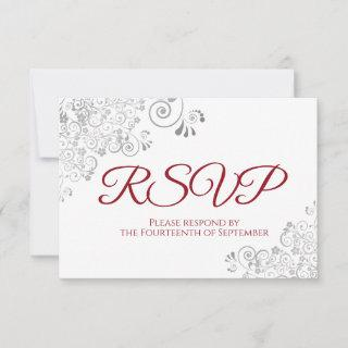 Red & White Elegant Silver Lace Wedding RSVP Card