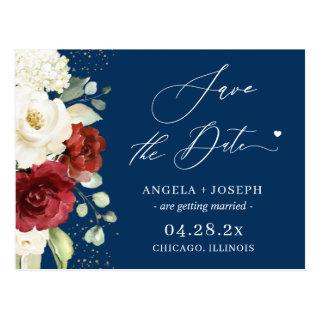 Red White Floral Navy Blue Wedding Save the Date Postcard