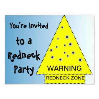 Redneck party Warning sign with gunshots Invitations