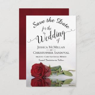 Reflecting Red Rose Romantic Wedding Save The Date