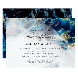 Rehearsal Dinner |  Blue Sapphire Watercolor Geode Invitations