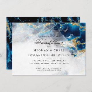 Rehearsal Dinner |  Blue Sapphire Watercolor Geode Invitation