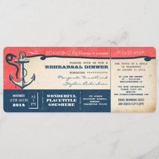 rehearsal dinner boarding pass-tickets with RSVP Invitation