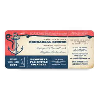rehearsal dinner boarding pass-tickets with RSVP Invitations
