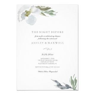 Rehearsal Dinner Cool Grey Watercolor Florals Invitations