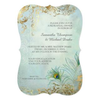 Rehearsal Dinner Gold Leaf Peacock Feather Elegant Invitations