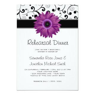 Rehearsal Dinner Purple Gerbera Daisy Black Scroll Invitation